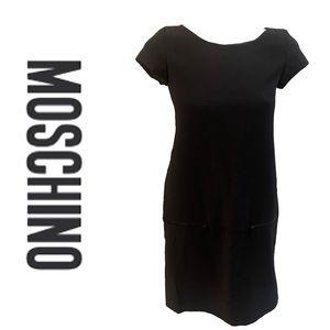MOSCHINO Cheap and Cheap black wool shift dress
